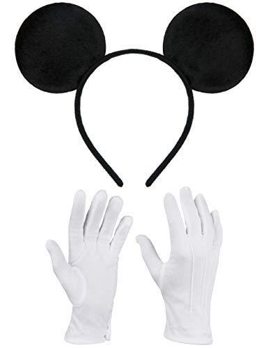 Balinco Haarreifen in schwarz mit Maus Ohren Micky Mouse inklusive weißen Handschuhen für Kinder & Erwachsene