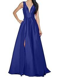 Charmant Damen Einfach V-Ausschnitt Abendkleider Ballkleider  Abschlussballkleider Lang A-Linie Rock Brautmutterkleider a2ddc9f819