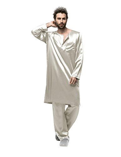 Fairylotus Galabiyyas Style Long Sleeves Silk Sleep Robe For Man 22 Momme