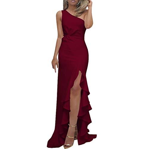 Patifia Damen Kleider Sexy One Schulter Partykleid Mode Frauen Ärmellos Rüschen Drapiert Einfach Kleid Elegant Asymmetrisch Bodenlänge Bodycon Abendkleider -