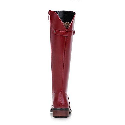 AgooLar Damen Weiches Material Rund Zehe Rein Hoch-Spitze Niedriger Absatz Stiefel Rot