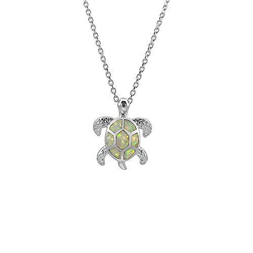 Kiara Jewellery Halskette mit Schildkröten-Anhänger, Sterling-Silber 925, klein, Weißer Opal, 45,7 cm Rhodiniert.
