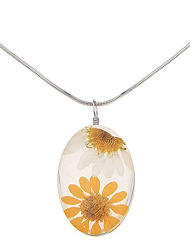 Leslii Kurze gelbe gelb Modeschmuck Damen-Kette echte Blumen Blumenkette Gänseblümchen Halskette Modeschmuck in Silber Sonnenblume