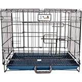 HANU Big &Adult Dog Heavy Duty Dog Crate Strong Metal Large Dog Cage Black Colour 42 INCH 255