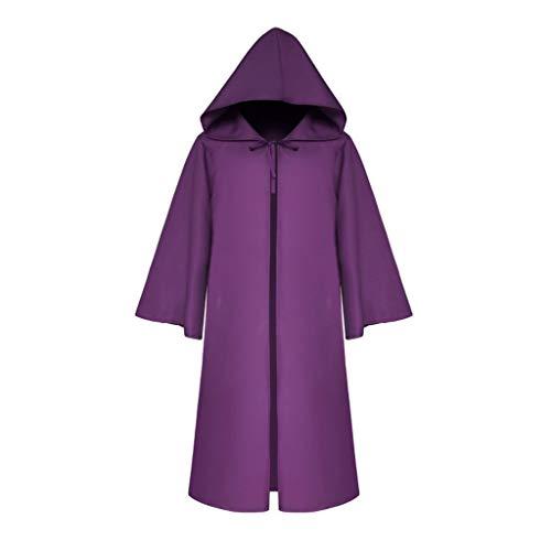 RYTEJFES Women Men's Vintage Half Sleeve Solid Hooded Bandage Cloak Cosplay Outwear Coat Halloween Faschingskostüme Prom Ballkleid Overalls (Lila, - Cheshire Cat Sexy Kostüm