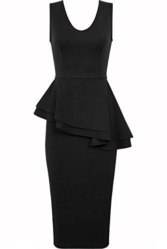 Fast Fashion sleeve less dell'abito saffico Plain Side Bow Slant peplum Bodycon paccs da festa Nero