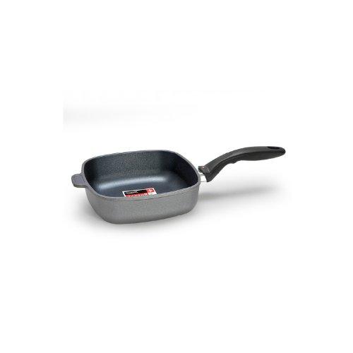 Swiss Diamond Non-stick Cast Aluminium Square 20 cm Saute Pan with Glass Lid, 2 Litre, Grey/Black
