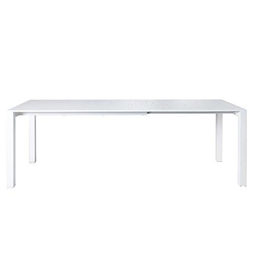 Ausziehbarer Design Esstisch X7 weiß Hochglanz 140-215 cm ausziehbar verlängerbar Esszimmertisch Konferenztisch Küchentisch Tisch