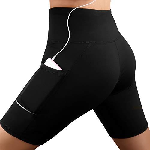 GRAT.UNIC Damen Fitness Damen Shorts, Kurze Yogahose, Schnell trocknende Trainieren Sporthose mit Taschen, Hohe Taille Sport Leggings (Schwarz, M)