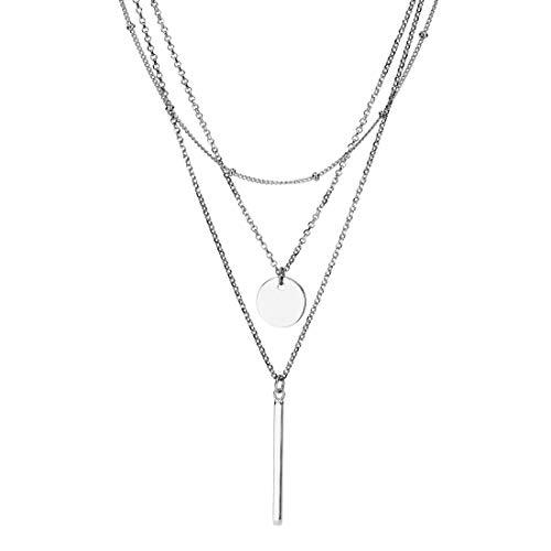 brilliantme Damen Halskette aus 925 Sterling Silber und Poliertuch für Silber Schmuck Dreifachkette (Silber)