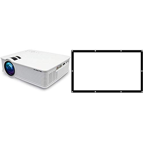"""EGATE i9 LED HD Android WiFi Projector - HD 1920 X 1080 - 120"""" Display_Egate EYE64 Projector Screen Eyelet, 6 x 4 feet Combo"""