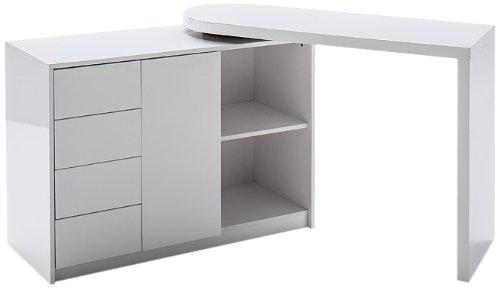 Robas Lund, Tisch, Schreibtisch, Computertisch, Matt, Hochglanz/weiß, 42 x 166 x 77 cm, 40220WW2 - 3 Regal Eiche Tisch