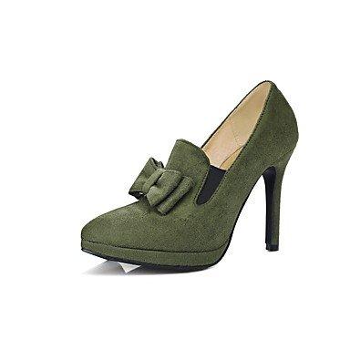 SANMULYH Scarpe Donna Floccaggio Autunno Inverno Comfort Tacchi Stiletto Heel Punta Bowknot Per Ufficio Outdoor & Carriera Red Army Green Nero Army green