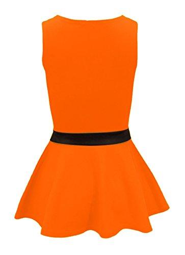 Fast Fashion - Haut Sans Manches Proue Plus La Taille Plaine Péplum Néon Évasée Parti - Femmes Orange