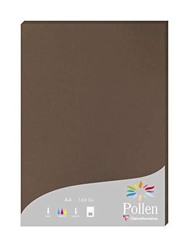 Clairefontaine 14292C Packung mit 50 Karten Pollen 160g, DIN A4, 21 x 29,7cm, Braun