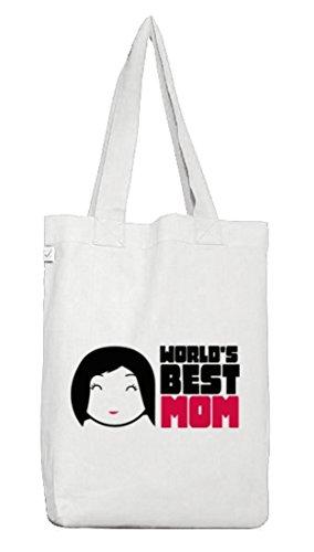 Geschenkidee Jutebeutel Stoffbeutel Earth Positive mit World's Best Mom Motiv White