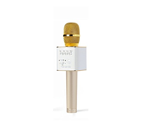 Mikrofon Karaoke, Ocool Portable BT Handheld Lautsprecher, Q9 Karaoke Stereo Player für Musik spielen, Mini Home KTV Karaoke für Apple iPhone Android Smartphone oder PC (Q9 Gold) (Handheld-spiel-player)