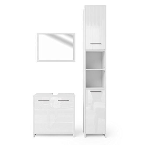 VICCO Badmöbel Set Kiko Weiß Hochglanz/Grau Beton - Badspiegel + Unterschrank + Bad Hochschrank + Bad Midischrank (Weiß Hochglanz, Set 3)