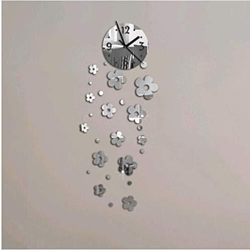 (Menddy Neue 3D DIY Acryl Spiegel Uhr Wanduhren Große Dekorative Uhr Quarz Wohnzimmer Moderne Nadel Silber 30cmx70cm)