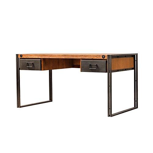 Meubletmoi Bureau Vintage en Bois Massif Structure métal / 2 tiroirs - Style indusrtiel Finitions soignées – Collection Workshop