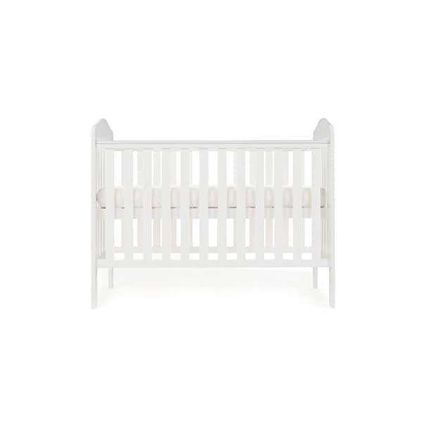 Obaby Ludlow Cot, White Obaby Adjustable 3 position mattress height Stylish open slatted ends and sides Protective teething rails along both side rails 2