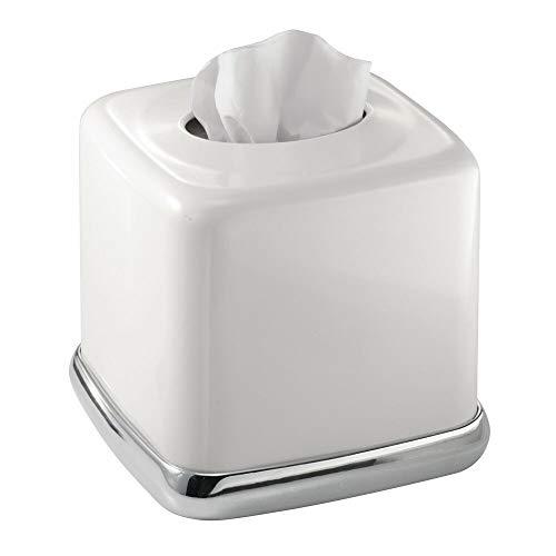 Mdesign porta fazzoletti quadrato – pratico tissue box in acciaio per il bagno – porta salviette dal design moderno e elegante, senza base – colore: bianco