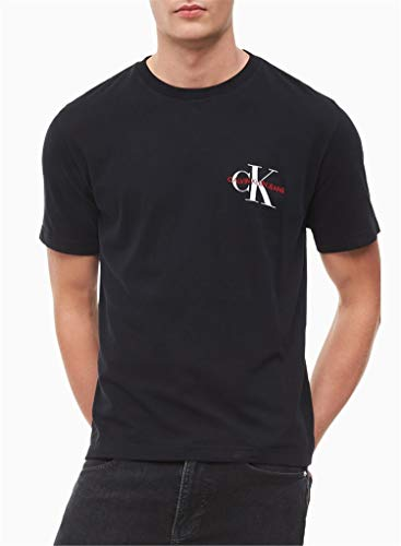 Calvin klein jeans - t-shirt uomo nera con logo monogramma - taglia m