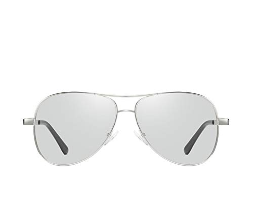 BFQCBFSG Herren Silber Sonnenbrille Fahren Fahrbrille Nachtsicht Polarisator Farbwechsel Fahrerspiegel Spiegel Brille, C