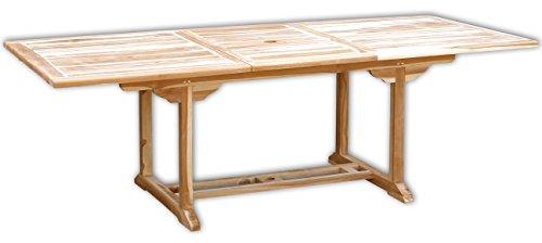 KMH, Ausziehbarer Teak Gartentisch (Maße: 170-230 x 100 cm/rechteckig) (#102110)