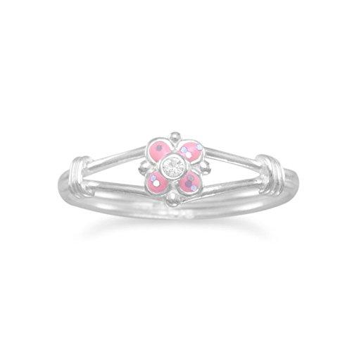 Sterling Silber Blume Pink Rosa Kinder-Ring Epoxy und klarer Kristall Blumen Ring-Größe: 5