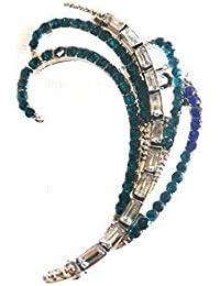 Réf088 BO.789 - Boucle D'oreille Femme - Ear Cuff Rock Strass Bleu Turquoise - Métal Argenté