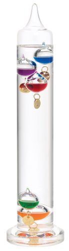 River City Clocks 13 Inch Liquid Galileo Thermometer with Five Multi-Color Floats and Gold Tags - Model # L3839G - Liquid Galileo-thermometer