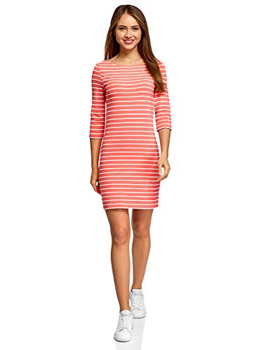 oodji Ultra Damen Baumwoll-Kleid Basic, Rot, DE 38 / EU 40 / - M&m Kostüm Orange