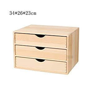 ZHAO ZHANQIANG Solid Wood Desktop Storage Box Wooden Multilayer Drawer Jewelry Cosmetic Box Office File A4 Paper Finishing Wooden Box, (Color : WY55)   8