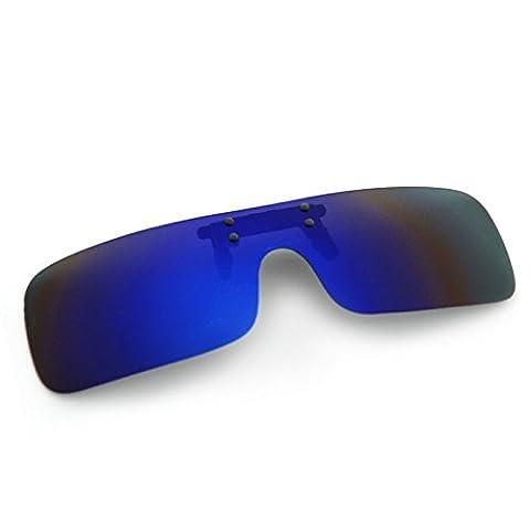 Cyxus (Clip On) Sports lunettes de soleil polarisées avec lentille de miroir coupe-vent, Hommes / Femmes Lunettes de soleil sans bord pour le vélo de ski Pêche Course à pied Golf (bleu)