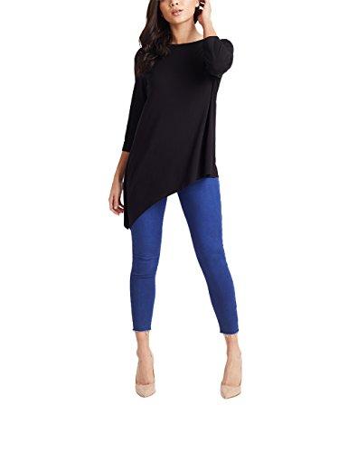 Lipsy Damen Asymmetrisches Sommer-Oberteil Schwarz EU 40 (UK 12) (Shirt Top Flanell Henley)
