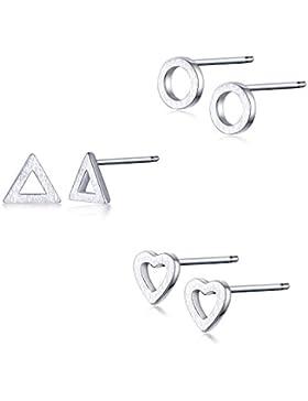 GULICX 3 Paare Ohrstecker 925 Sterling Silber Herz Dreieck Runde Form 5mm Kleine Ohrringe