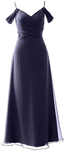MACloth Elegant Off the Shoulder Long Bridesmaid Dress Wedding Party Formal Gown Dark Navy