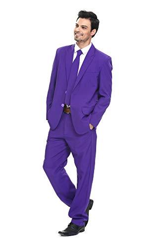 Traje de Fiesta para Hombre, Color sólido, Traje de Ocio para Fiesta de Halloween con Corbata y Pantalones