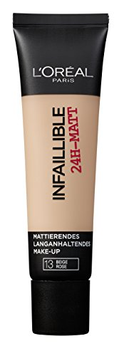L'Oréal Paris Infaillible 24H-Matt in Nr. 13 Beige Rose, langanhaltendes Flüssig-Make-up mit hoher Deckkraft, 35 ml