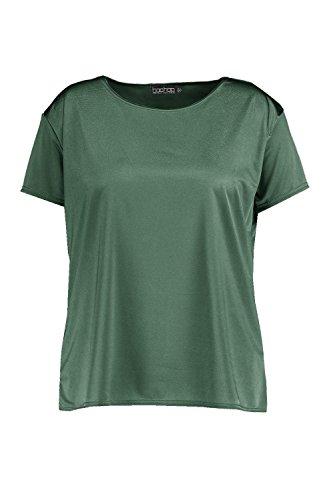 Kaki Femmes Plus Debbie T-shirt Près Du Corps Coupe Carrée Kaki