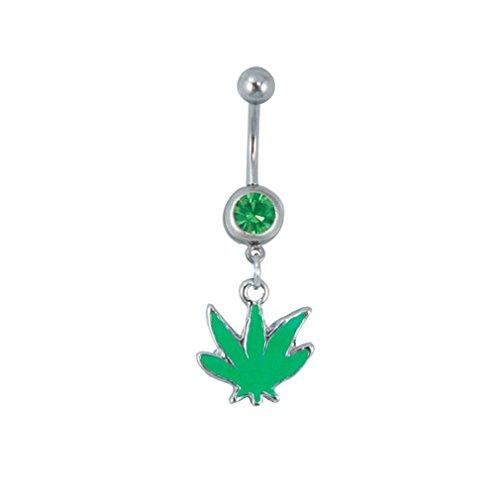 JEWELS Fashion Edelstahl grün Pot Leaf baumeln Bauch Ring Pot Leaf