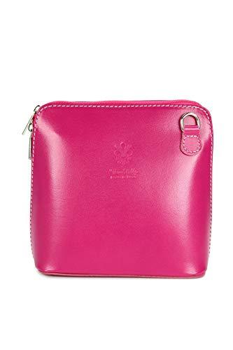 Belli ital. Ledertasche Damen Umhängetasche Handtasche Schultertasche - 17x16,5x8,5 cm (B x H x T) (Pink) - Strumpfhose Masse Der In