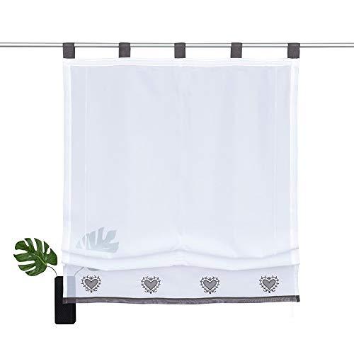 NECOHOME Transparente Raffrollo 1er Pack Voile Stickerei Vorhang im Landhausstil Gardinen Deko für Schlaf-, Wohnzimmer oder Küche (Grau, 100x140cm)