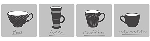 BHF FDB50040Ceramica tazas de té de cocina y baño autoadhesivas para cenefa–negro/gris