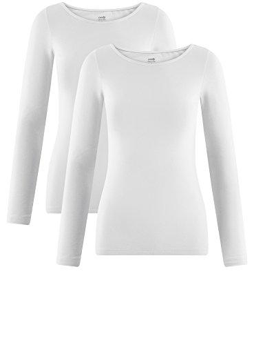 oodji Collection Damen Langarmshirt (2er-Pack) Weiß (1000N)