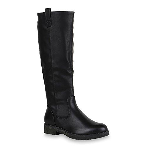 Damen Reiterstiefel Leicht Gefütterte Stiefel Leder-Optik Schuhe 150623 Schwarz 37 Flandell Leder-stiefel