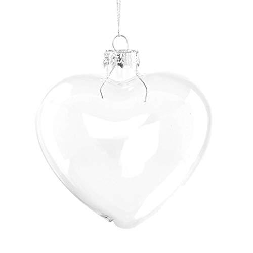 Succulent style 6x palline di vetro trasparente a forma di cuore ornamenti per natale o matrimonio decorazioni