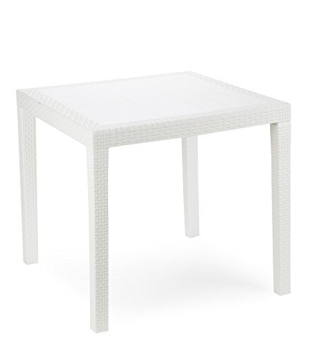 Kunststoff Gartentisch King weiß in Rattan Optik, 80 x 80 cm, von IPAE Progarden, Made IN Europe
