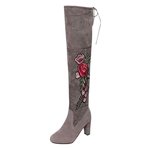 Botas AltoTobillo Alto Mujer, LANSKIRT Zapatos Mujer Rosa Bordada Botas Altas del Muslo Botas Sobre la Rodilla Zapatos de Tacones Altos Botas de Nieve Botas de Vaquero